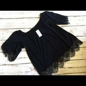 NWT Banana Republic Lace Off the Shoulder Top MED
